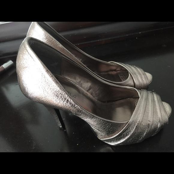 Kelly & Katie Shoes - Metallic Platform Peep Toe Heels